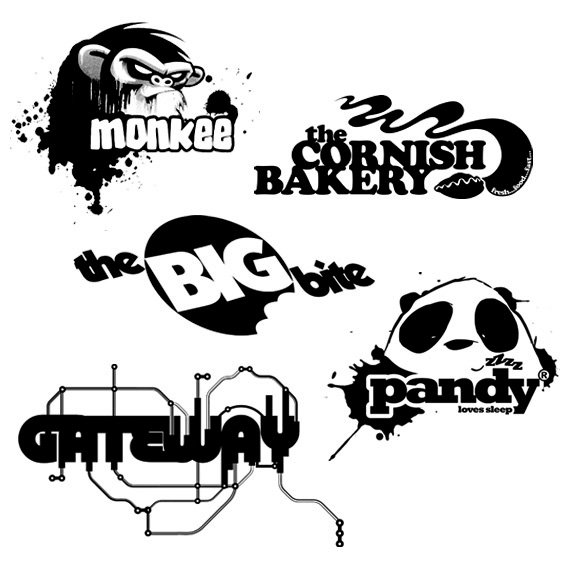 Various Black and White Logos